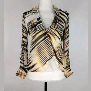 Bebe sheer studded draped cut out sleeve blouse